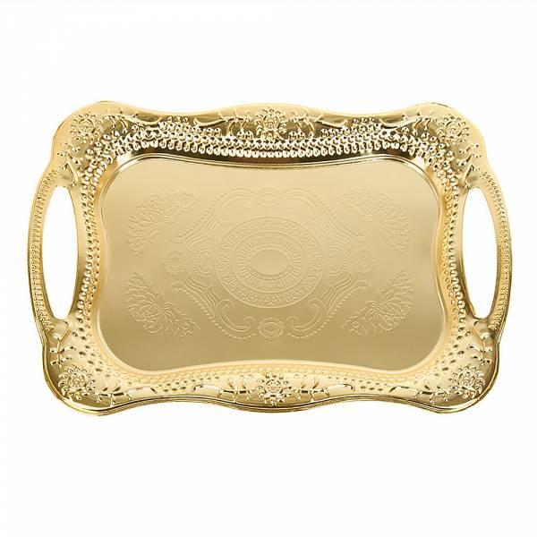 Поднос сервировочный (золото) 43,5*29,5*2см. (металл с гальваническим покрытием) (упаковочный пакет)