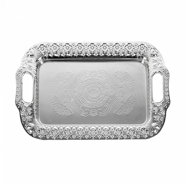 Поднос сервировочный (серебр) 40*26*2см. (металл с гальваническим покрытием) (упаковочный пакет)