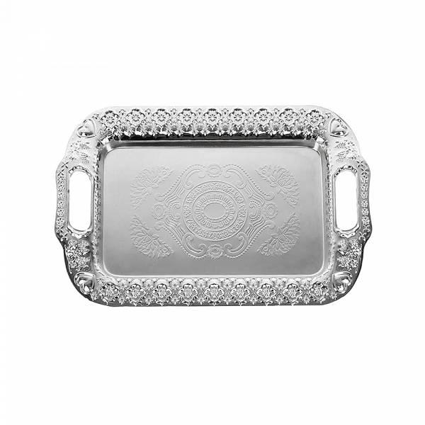 Поднос сервировочный (серебр) 34*22,5*3см. (металл с гальваническим покрытием) (упаковочный пакет)