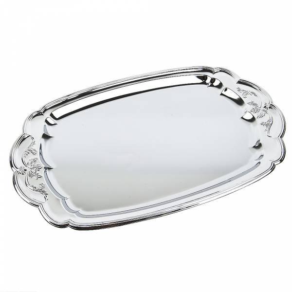 Поднос сервировочный (серебро) 35.5*22*1,5см. (металл с хромированным покрытием) (упаковочный пакет)