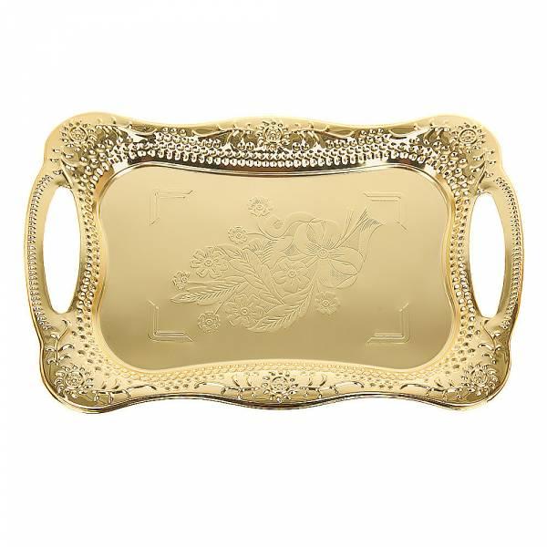 Поднос сервировочный (золото) 43,5*29,5*3см. (металл с гальваническим покрытием) (упаковочный пакет)