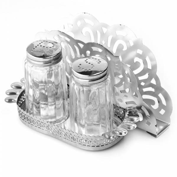 Набор для специй с салфетницей солонка/ перечница на металлической подставке 15,5*7,5*8,5см.