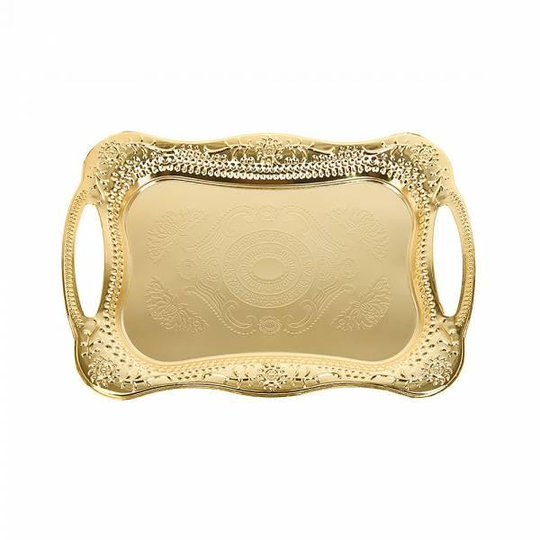 Поднос сервировочный (золото) 30,5*20,5*2см. (металл с гальваническим покрытием) (упаковочный пакет)