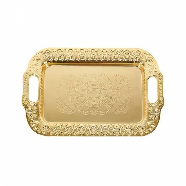 Поднос сервировочный (золото) 34*22,5*3см. (металл с гальваническим покрытием) (упаковочный пакет)