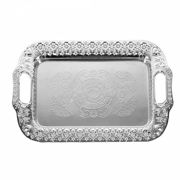 Поднос сервировочный (серебр) 47*31*3см. (металл с гальваническим покрытием) (упаковочный пакет)