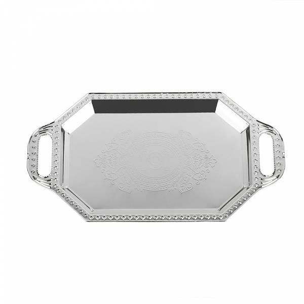 Поднос сервировочный (серебро) 43,5*22,5*1,5см. (металл с гальваническим покрытием)