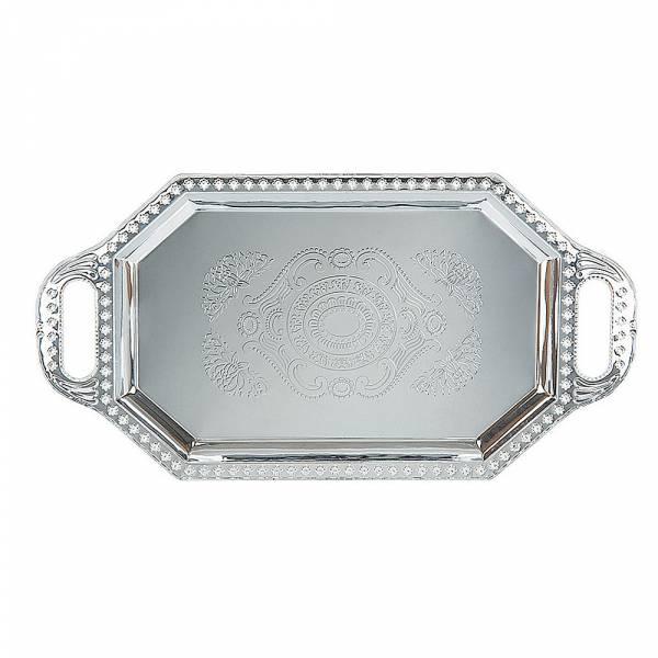 Поднос сервировочный (серебро) 38*19,5*1,5см. (металл с гальваническим покрытием)