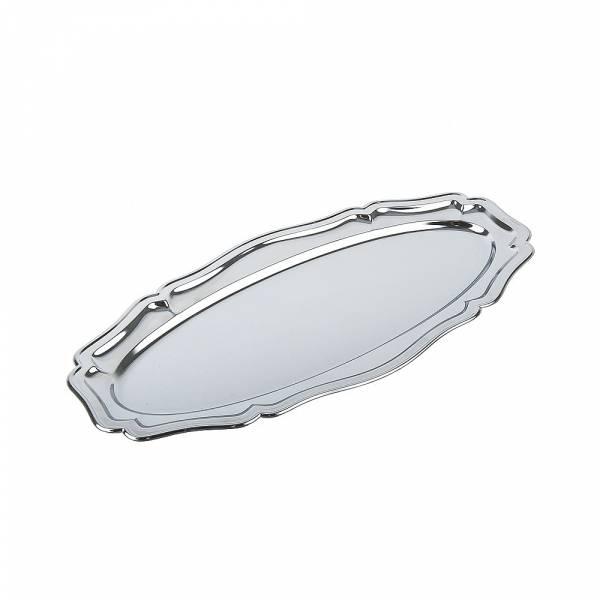 Поднос сервировочный (серебро) 36*17,5*1,5см. (металл с хромированным покрытием) (упаковочный пакет)
