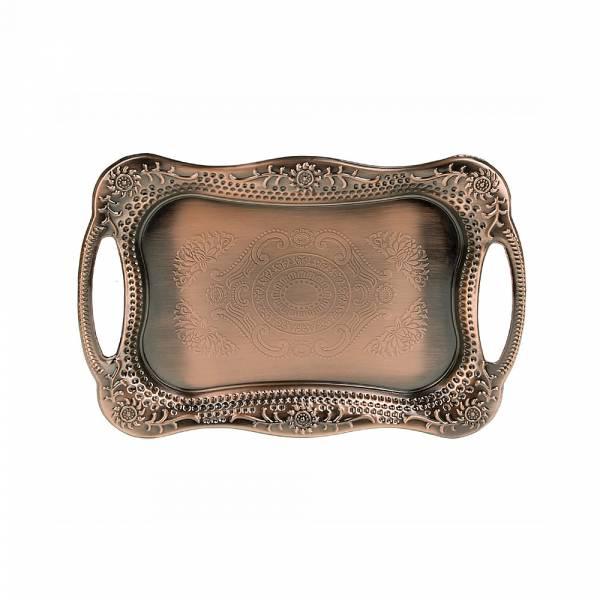 Поднос сервировочный (медь) 30,5*20,5*3см. (металл с гальваническим покрытием) (упаковочный пакет)