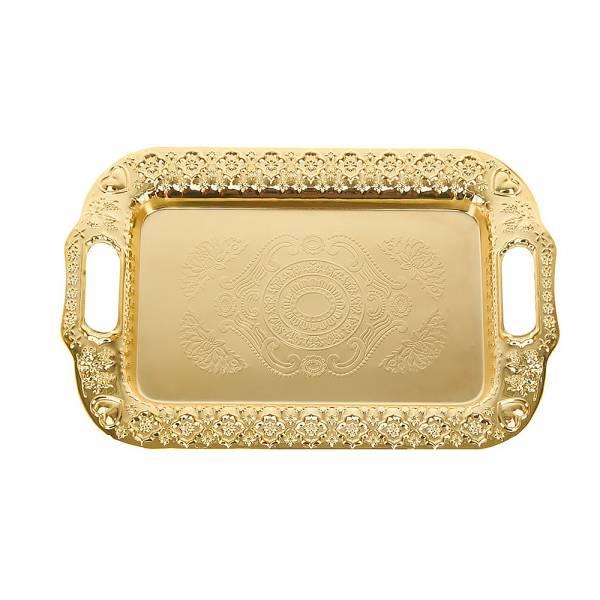 Поднос сервировочный (золото) 40*26*2см. (металл с гальваническим покрытием) (упаковочный пакет)