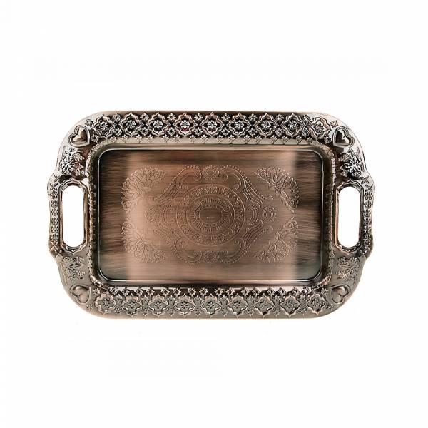 Поднос сервировочный (медь) 34*22*2см. (металл с гальваническим покрытием) (упаковочный пакет)