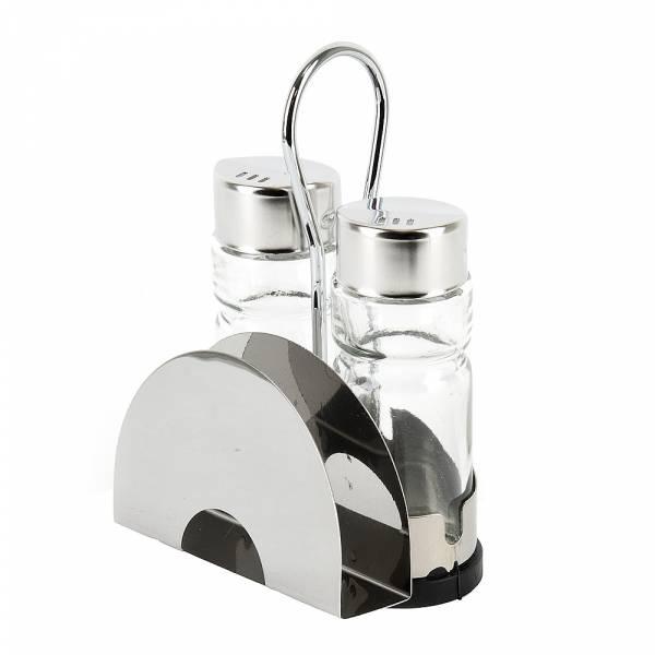 Набор для специй с салфетницей солонка/перечница на металлической подставке 8*5*12,5см.