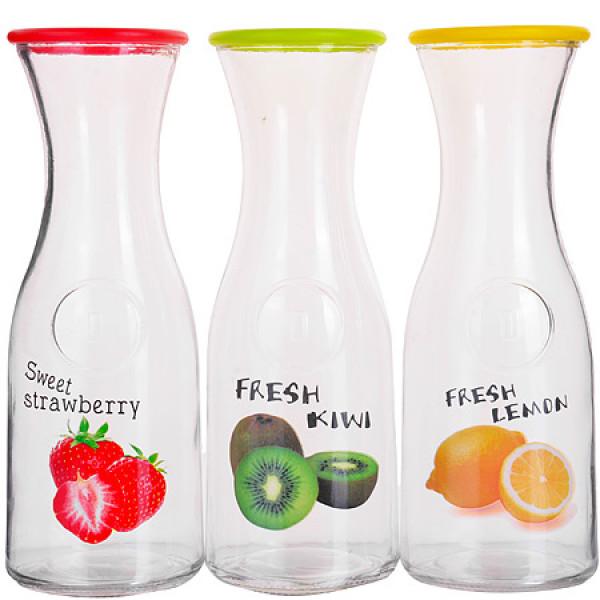 27825 Бутылка стеклянная 1 литр (в ассортименте) LR (х12)