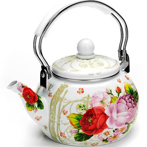 26494 Чайник Эмаль 2,5л с/кр Цветы MAYER&BOCH