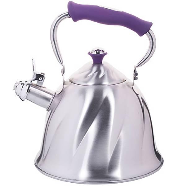 23777 Чайник мет 3л со свистком руч/фиолет МВ