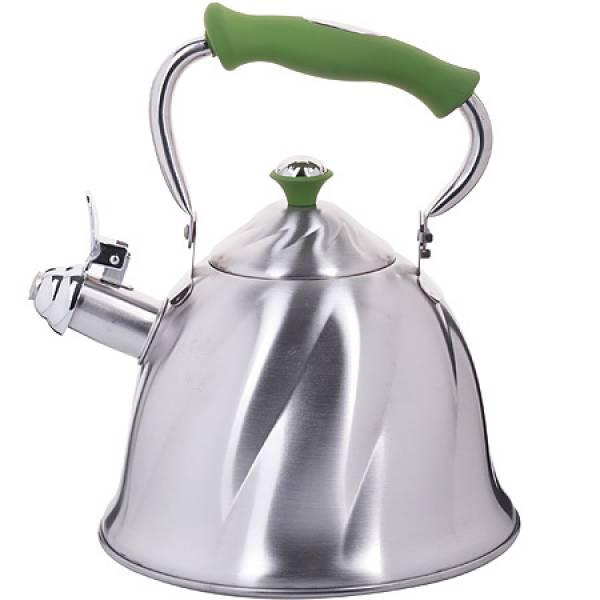 23775 Чайник мет 3л со свист руч/зеленая МВ