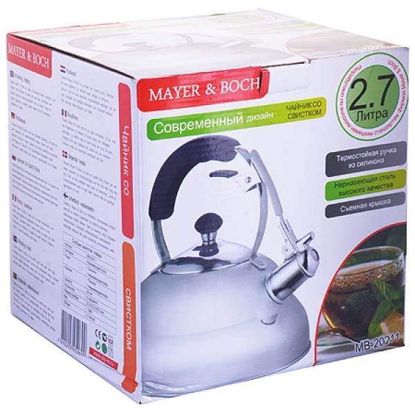 20211 Чайник мет MAYER&BOCH 2,7л пласт/руч со свист