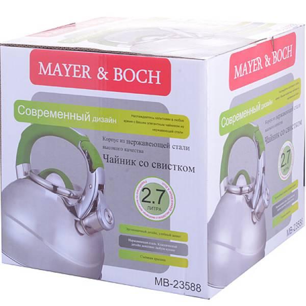23588 Чайник мет 2,7л со свистком руч/зел MAYER&BOCH
