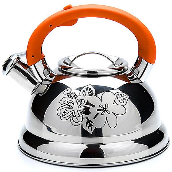 22789 Чайник мет 2,6л /цв руч/оранж МВ(х12)