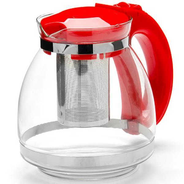 26170-1 Заварочный чайник КРАСНЫЙ стекло 1,5л сито MAYER&BOCH