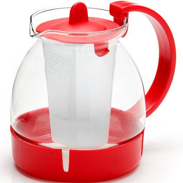 26171-1 Заварочный чайник КРАСНЫЙ стекло 1,25л ситоMB