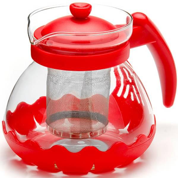 26173-1 Заварочный чайник КРАСНЫЙ стекло 0,7л сито MAYER&BOCH