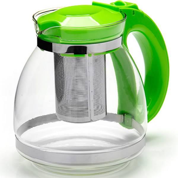 26170-3 Заварочный чайник ЗЕЛЕНЫЙ стекло 1,5л сито MAYER&BOCH