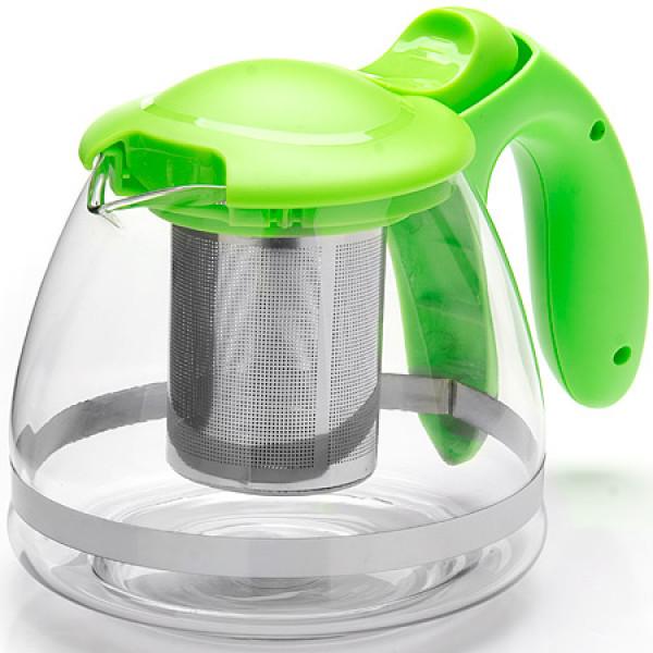 26172-3 Заварочный чайник ЗЕЛЕНЫЙ стекло 1,2л сито MB(х36)