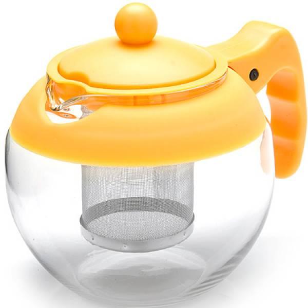 26174-2 Заварочный чайник ЖЕЛТЫЙ стекло 0.75л ситоMB