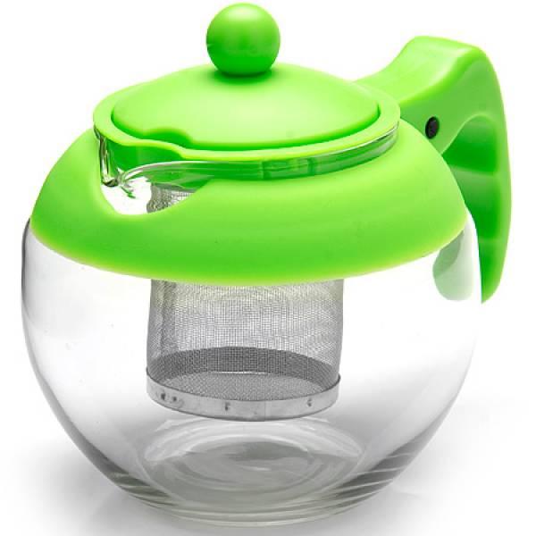 26174-3 Заварочный чайник ЗЕЛЕНЫЙ стекло 0.75л ситоMB
