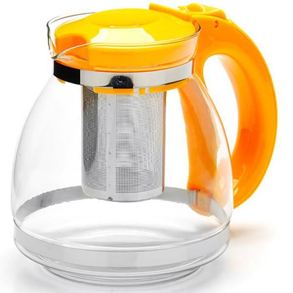 26170-2 Заварочный чайник ЖЕЛТЫЙ стекло 1,5л сито MAYER&BOCH