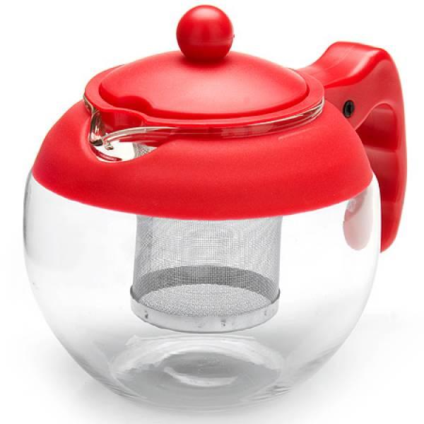 26174-1 Заварочный чайник КРАСНЫЙ стекло 0.75л ситоMB
