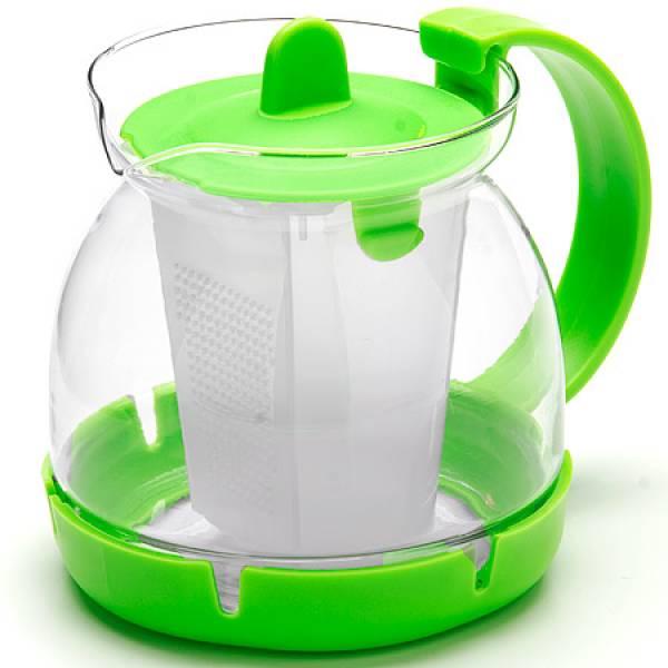 26175-3 Заварочный чайник ЗЕЛЕНЫЙ стекло 0,8л сито MAYER&BOCH