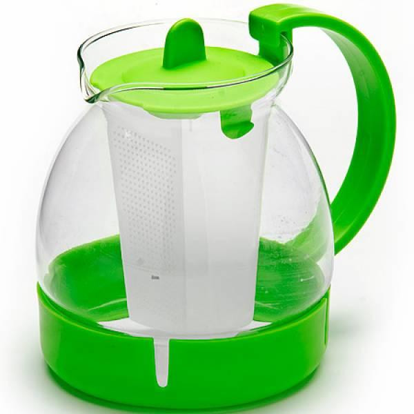 26171-3 Заварочный чайник ЗЕЛЕНЫЙ стекло 1,25л ситоMB