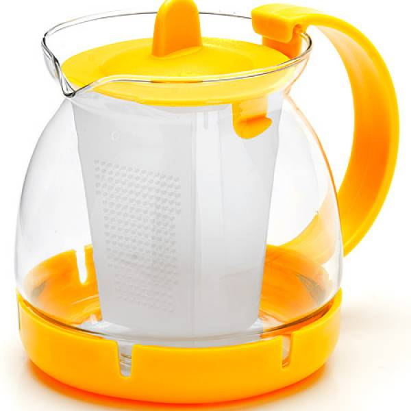 26175-2 Заварочный чайник ЖЕЛТЫЙ стекло 0,8л сито MAYER&BOCH