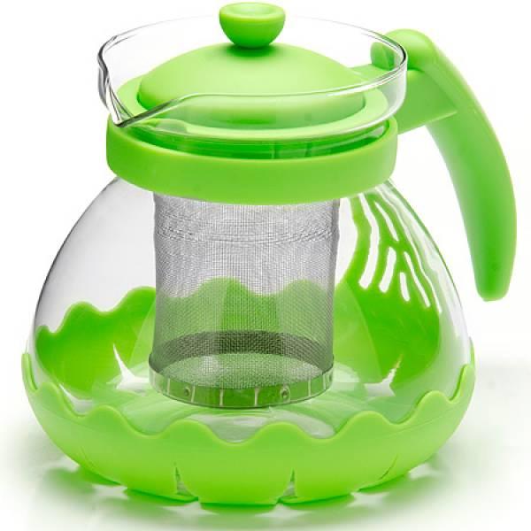 26173-3 Заварочный чайник ЗЕЛЕНЫЙ стекло 0,7л сито MAYER&BOCH