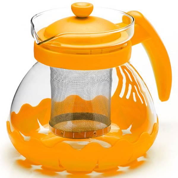 26173-2 Заварочный чайник ЖЕЛТЫЙ стекло 0,7л сито MAYER&BOCH