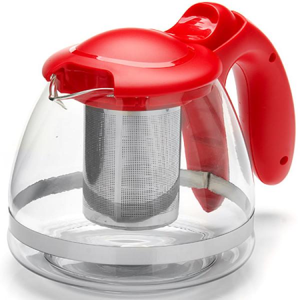 26172-1 Заварочный чайник КРАСНЫЙ стекло 1,2л сито MAYER&BOCH