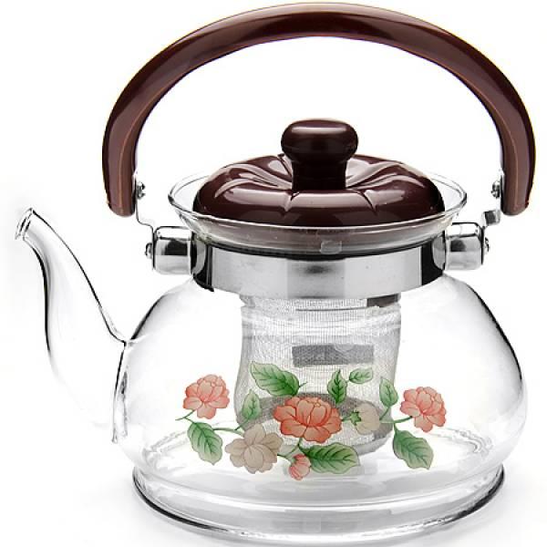 2587 Чайник заварочный SK 0,8л стекл/мет/сит (х18)