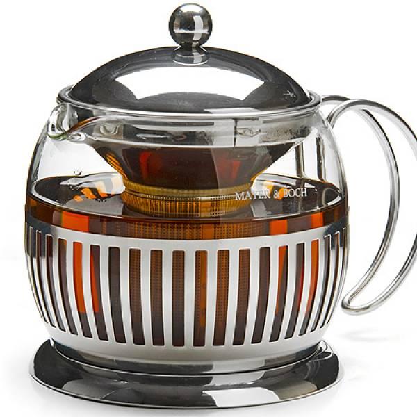 27596 Чайник/завар стекло+метал 1,2 сито MAYER&BOCH
