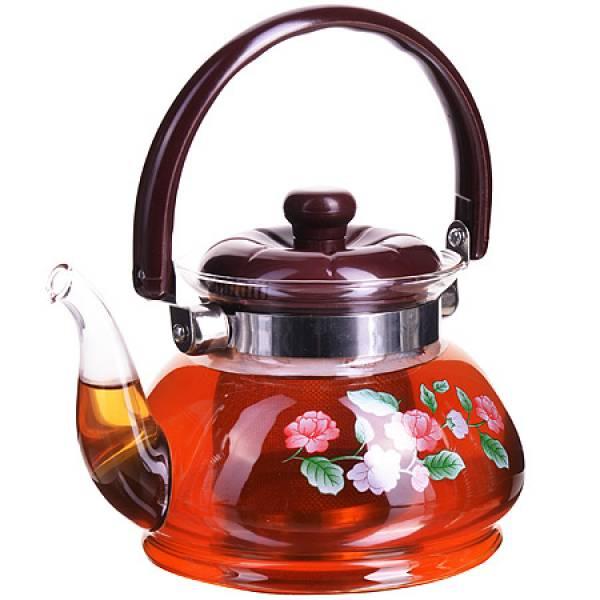 2587 Чайник заварочный МБ 0,8л стекл/мет/сит