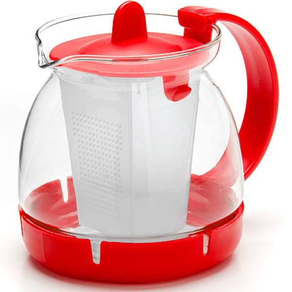 26175-1 Заварочный чайник КРАСНЫЙ стекло 0,8л сито MAYER&BOCH