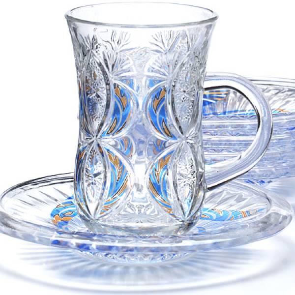 27088 Набор д/чая стекляный 12пр LR с бирюза (х6)