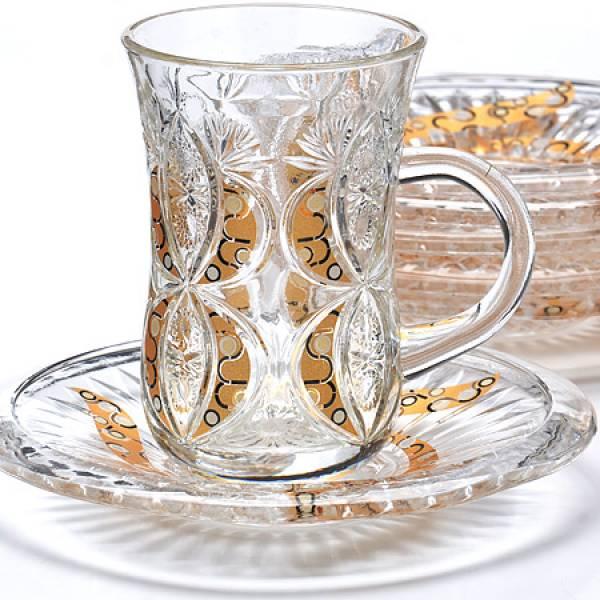 27091 Набор д/чая стекляный 12пр LORAINE с золотом