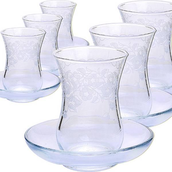 MS42021+54201-07 Набор стаканов с блюдцами 12 предметов