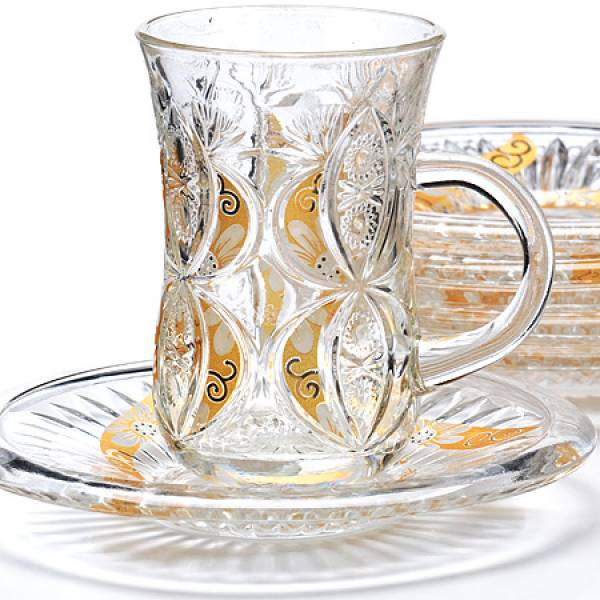 27087 Набор д/чая стекляный 12пр LORAINE с золотом