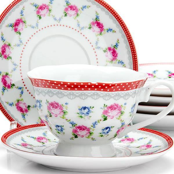 25921 Чайный сервиз 12пр 150мл ЦВЕТЫ LORAINE