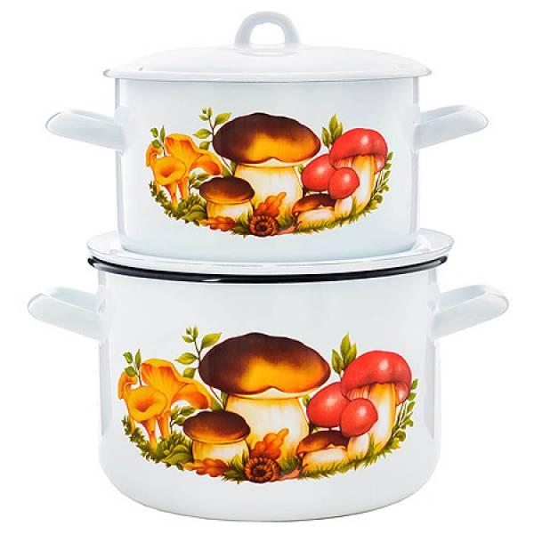 712027 Набор посуды 4пр эмаль Грибы 2,9+4,3л