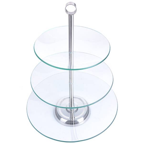 28566 Ваза конфетница 3х ярусная стекло LORAINE