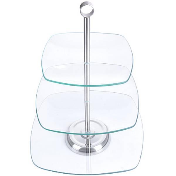 28567 Ваза конфетница 3х ярусная стекло LORAINE